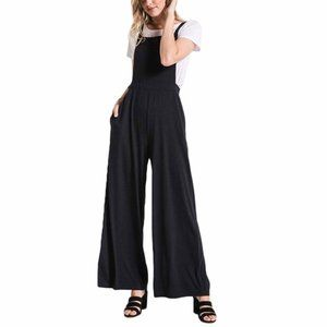 NWT ZSUPPLY Black The Bib Front Wide Leg Jumpsuit